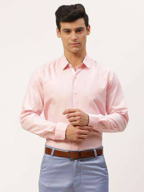 Sojanya (Since 1958), Men's Cotton Linen Pink Formal Shirt