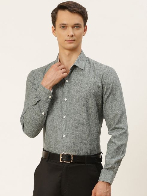 Sojanya (Since 1958), Men's Cotton Linen Bottle Green Formal Shirt