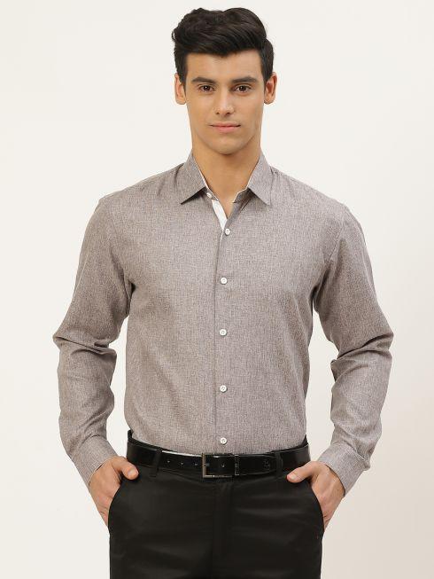 Sojanya (Since 1958), Men's Cotton Linen Coffee Brown Formal Shirt