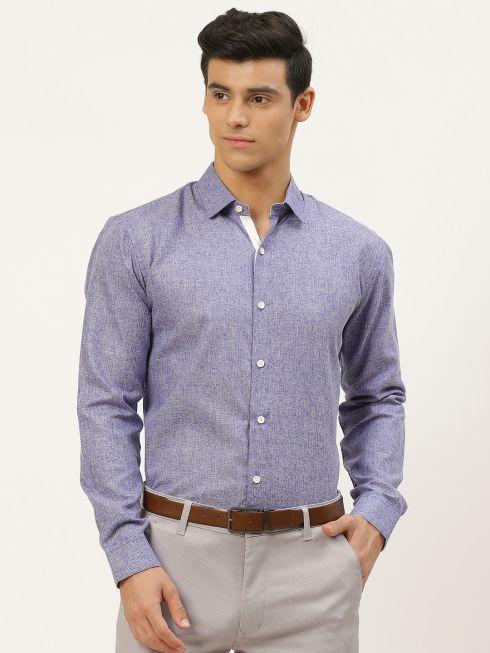 Sojanya (Since 1958), Men's Cotton Linen Indigo Blue Formal Shirt