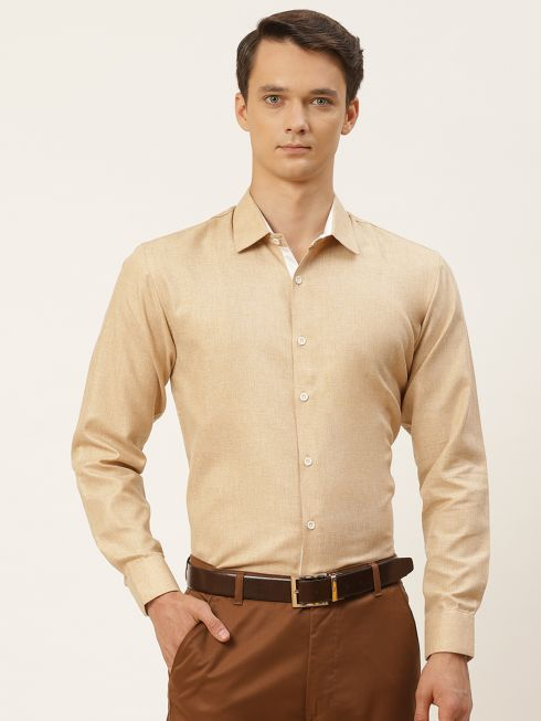 Sojanya (Since 1958), Men's Cotton Linen Brown Formal Shirt