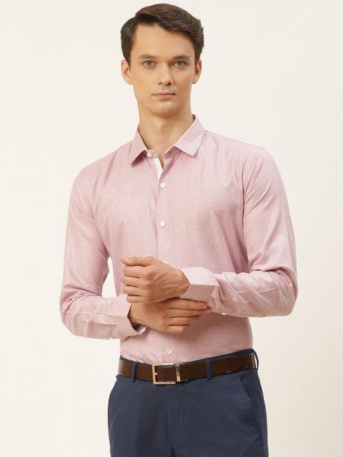 Sojanya (Since 1958), Men's Cotton Linen Light Purple Formal Shirt
