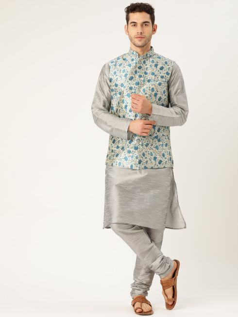 Sojanya (Since 1958), Mens Silk Blend Grey Kurta Pyjama & Blue Nehrujacket Combo