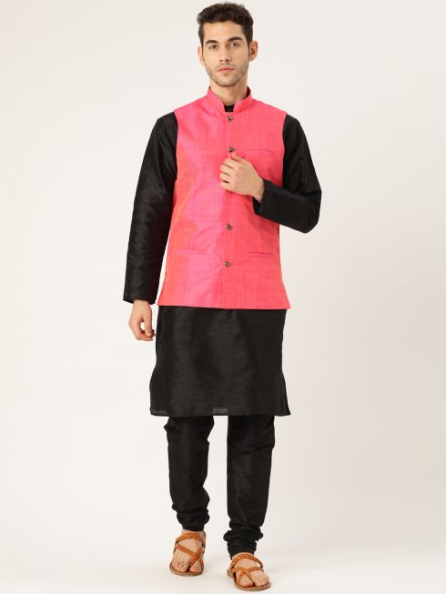 Sojanya (Since 1958), Mens Silk Blend Black Kurta Pyjama & Pink Nehrujacket Combo