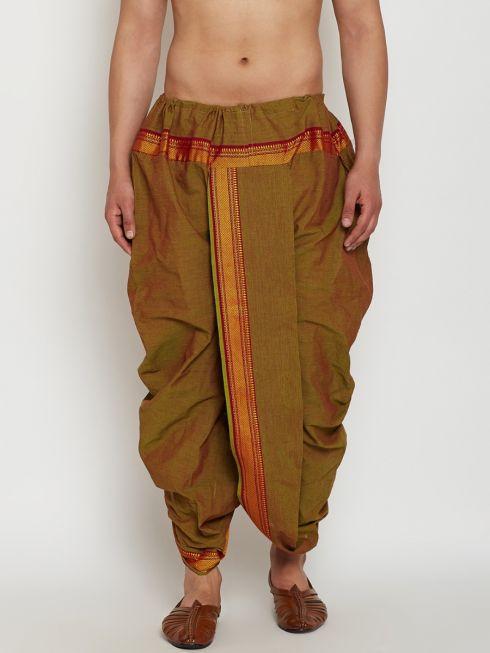 Sojanya (Since 1958), Stitched Juniper Green Mens Dhoti