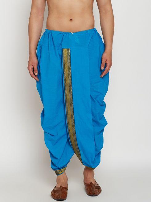Sojanya (Since 1958), Stitched Sky Blue Mens Dhoti