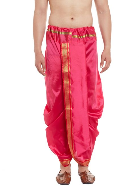 Sojanya (Since 1958), Stitched Pink With Red and Golden Border Mens Dhoti
