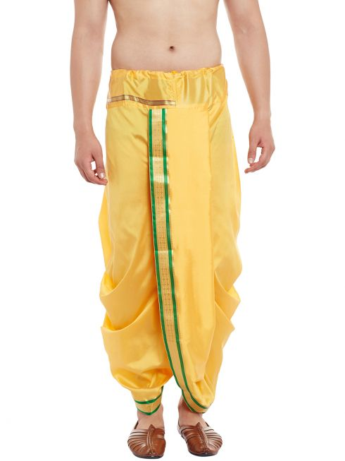 Sojanya (Since 1958), Stitched Yellow With Green and Golden Border Mens Dhoti