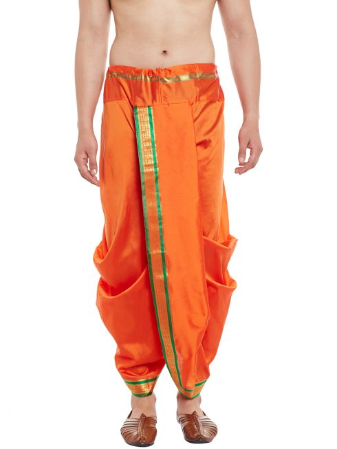 Sojanya (Since 1958), Stitched Orange With Green and Golden Border Mens Dhoti