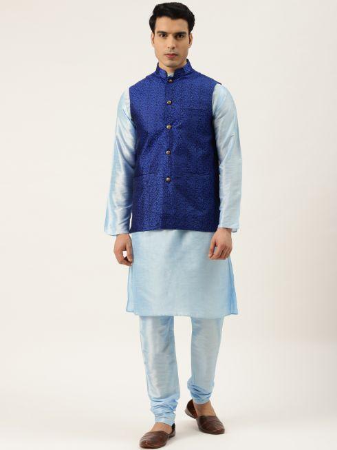 Sojanya (Since 1958) Men's Silk Blend SkyBlue Kurta Pyjama & RoyalBlue Nehrujacket Combo