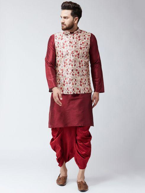 Sojanya (Since 1958), Dupion Silk Maroon Kurta Dhoti and PrintedNehru Jacket Set