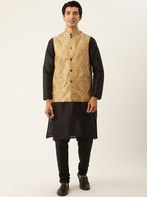 Sojanya (Since 1958) Men's Silk Blend Black Kurta Pyjama & Beige Nehrujacket Combo