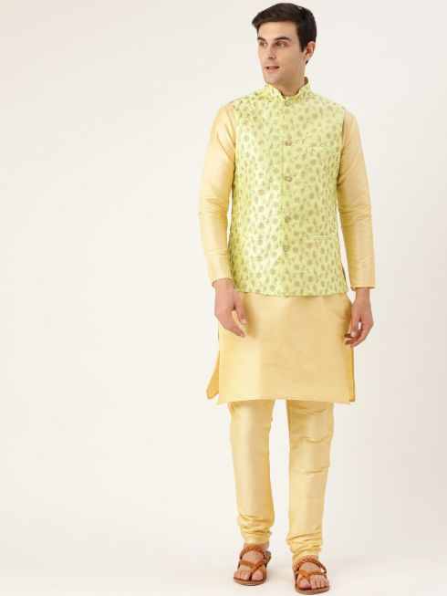 Sojanya (Since 1958) Men's Silk Blend Gold Kurta Pyjama & LimeGreen Nehrujacket Combo