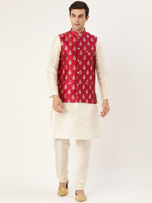 Sojanya (Since 1958) Men's Silk Blend Off White Kurta Pyjama & Magenta Nehrujacket Combo
