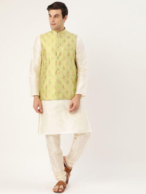 Sojanya (Since 1958) Men's Silk Blend Off White Kurta Pyjama & Green Nehrujacket Combo