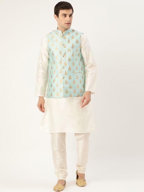 Sojanya (Since 1958) Men's Silk Blend Off White Kurta Pyjama & Sea Green Nehrujacket Combo