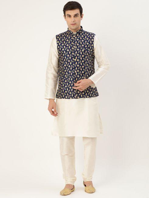 Sojanya (Since 1958) Men's Silk Blend OffWhite Kurta Pyjama & Navy Blue Nehrujacket Combo