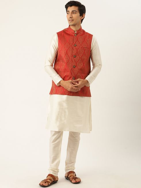 Sojanya (Since 1958) Men's Silk Blend Off White Kurta Pyjama & Red Nehrujacket Combo