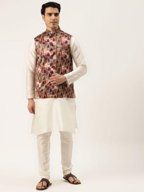 Sojanya (Since 1958) Men's Silk Blend Off White Kurta Pyjama & Magenta Nehrujacket Combo
