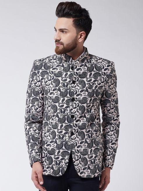 Sojanya (Since 1958) Men's Black Printed Blazer