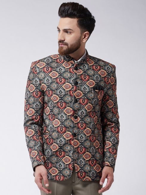 Sojanya (Since 1958) Men's Multicolor Printed Blazer blazer