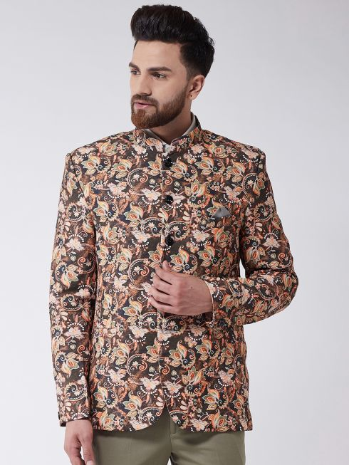 Sojanya (Since 1958) Men's Brown Floral Printed Blazer