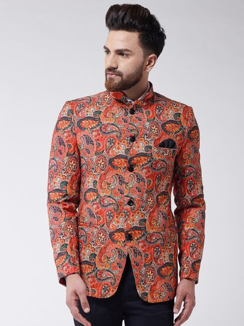 Sojanya (Since 1958) Men's Orange Printed Blazer