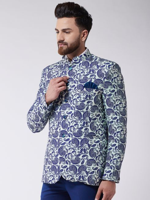 Sojanya (Since 1958) Men's Royal Blue Printed Blazer