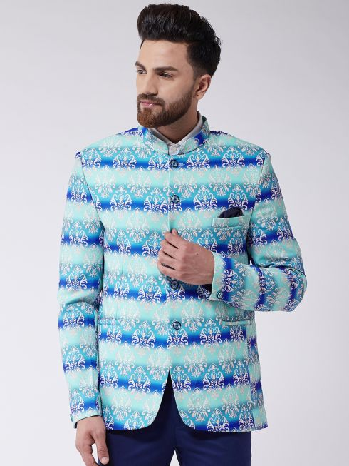 Sojanya (Since 1958) Men's Sky Blue Printed Blazer