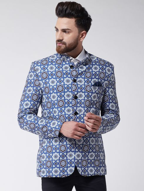 Sojanya (Since 1958) Men's Indigo Blue Printed Blazer