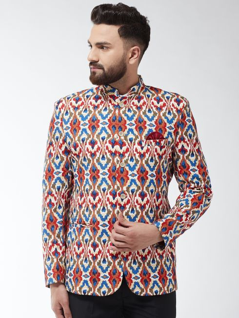 Sojanya (Since 1958) Men's Cotton Blend Multicolored Abstract Printed Blazer