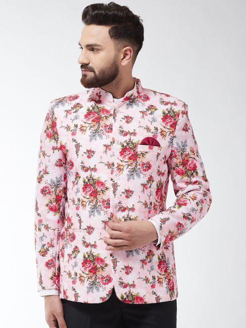 Sojanya (Since 1958) Men's Cotton Blend Pink & Multi Floral Printed Blazer