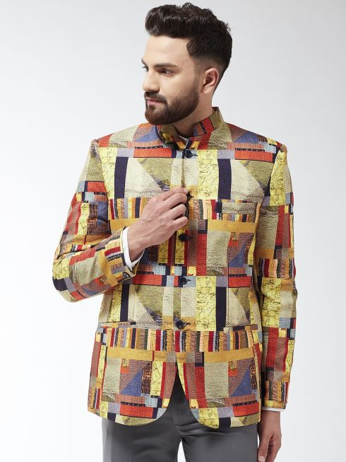 Sojanya (Since 1958) Men's Cotton Blend Multicolored Geometric Printed Blazer