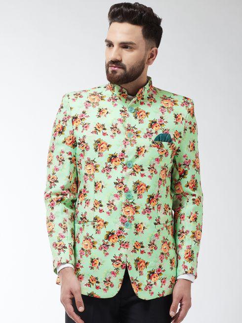 Sojanya (Since 1958) Men's Cotton Blend Green & Multi Floral Printed Blazer