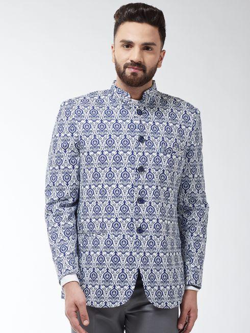 Sojanya (Since 1958) Men's Cotton Blend Cream & Royal Blue Printed Blazer