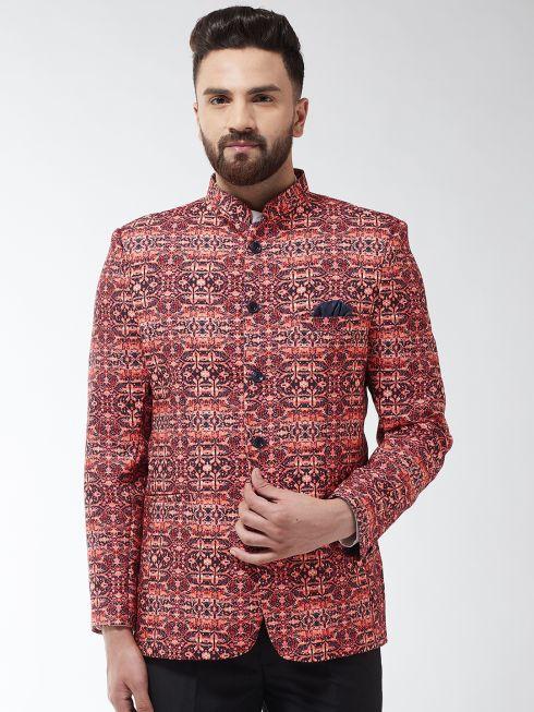 Sojanya (Since 1958) Men's Cotton Blend Coral & Multi Printed Blazer blazer