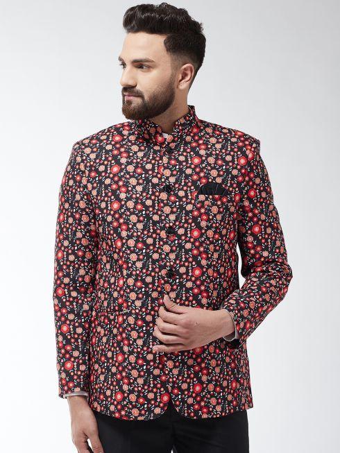 Sojanya (Since 1958) Men's Cotton Blend Black & Red Printed Blazer