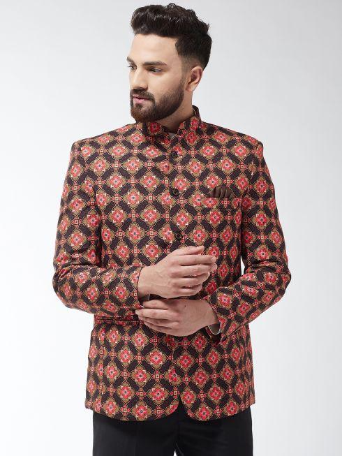 Sojanya (Since 1958) Men's Cotton Blend Coffee Brown & Multi Floral Printed Blazer