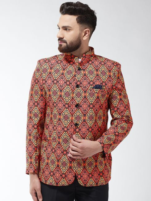 Sojanya (Since 1958) Men's Cotton Blend Coral & Multi Printed Blazer