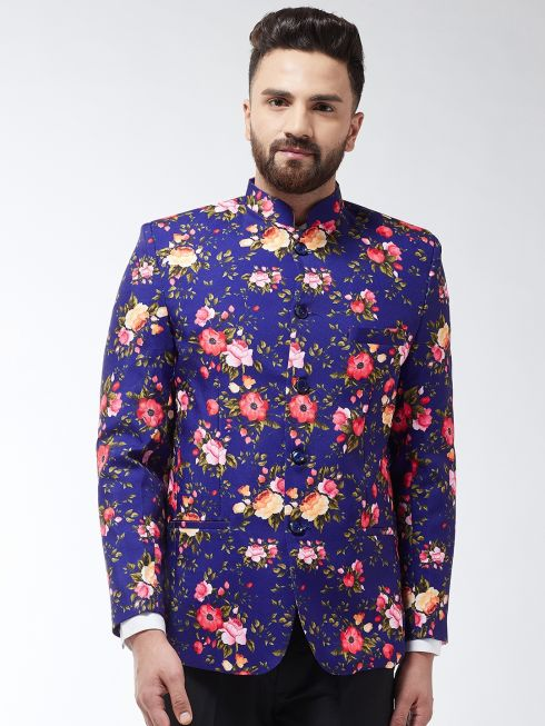 Sojanya (Since 1958) Men's Cotton Blend Royal Blue & Multi Floral Printed Blazer