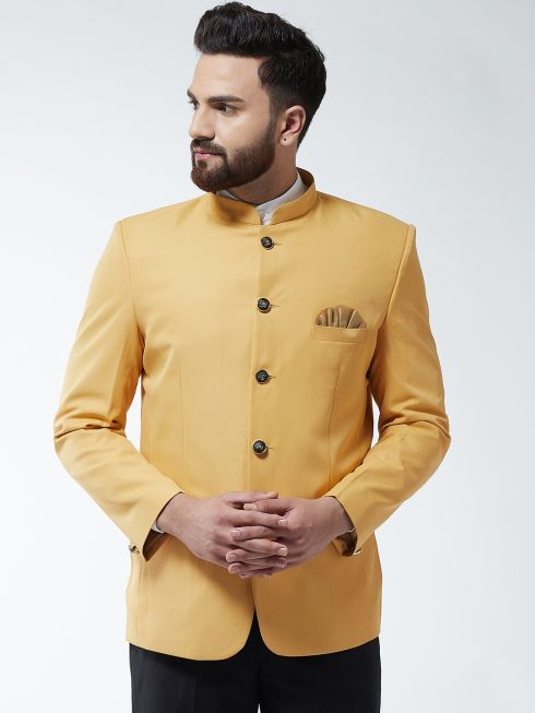 Sojanya (Since 1958) Men's Cotton Blend Mustard Solid Blazer