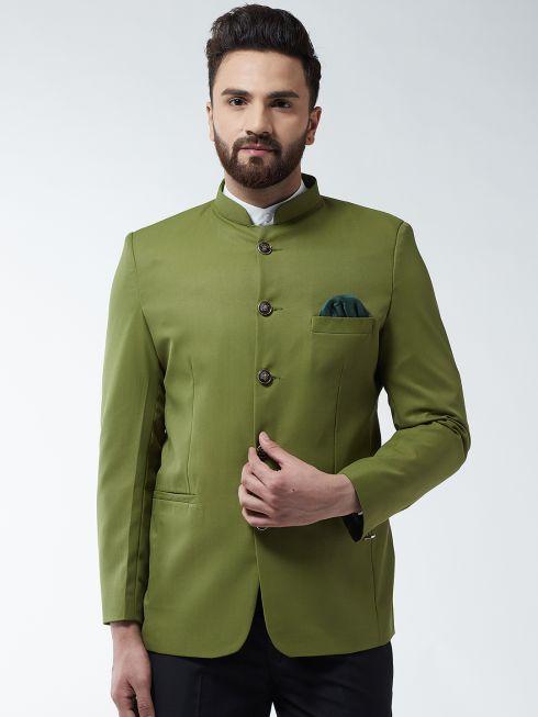 Sojanya (Since 1958) Men's Cotton Blend Moss Green Solid Blazer