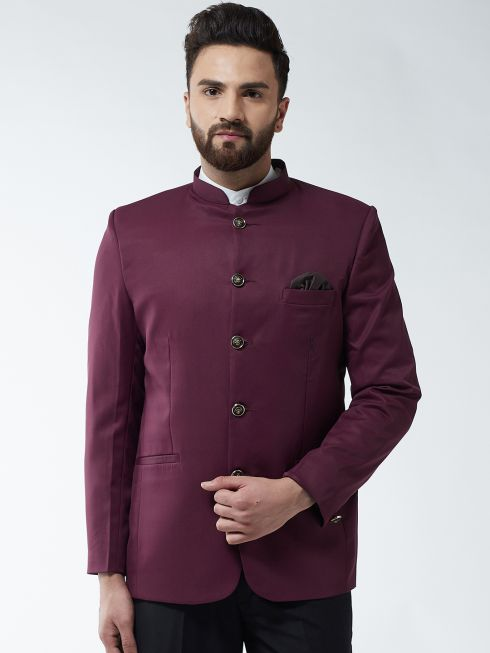Sojanya (Since 1958) Men's Cotton Blend Wine Solid Blazer