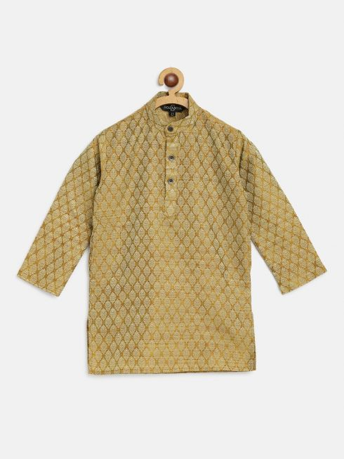 Sojanya (Since 1958), Kids Jacquard Silk Mustard Self design ONLY Kurta