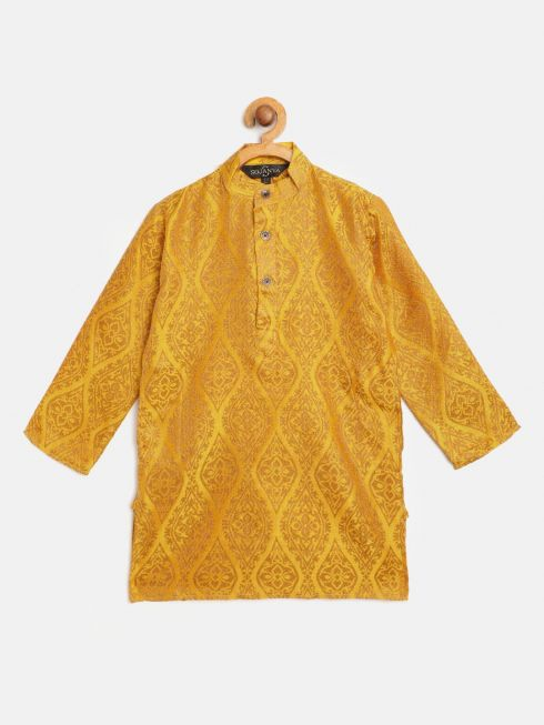 Sojanya (Since 1958), Kids Jacquard Silk Mustard & Gold ONLY Long Kurta