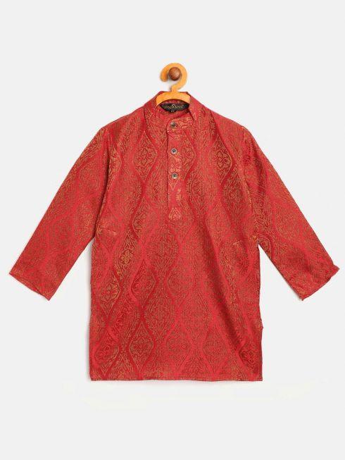 Sojanya (Since 1958), Kids Jacquard Silk Red & Gold ONLY Long Kurta