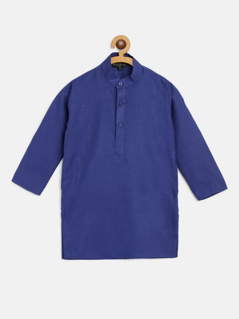 Sojanya (Since 1958), Kids Cotton Silk Royal Blue Solid ONLY Long Kurta