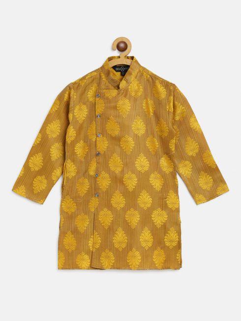 Sojanya (Since 1958), Kids Jacquard Silk Mustard Self Design ONLY Long Kurta