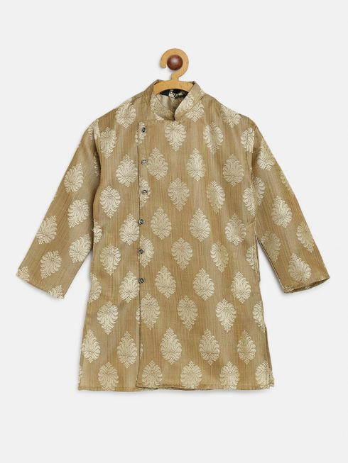 Sojanya (Since 1958), Kids Jacquard Silk Gold Self Design ONLY Long Kurta