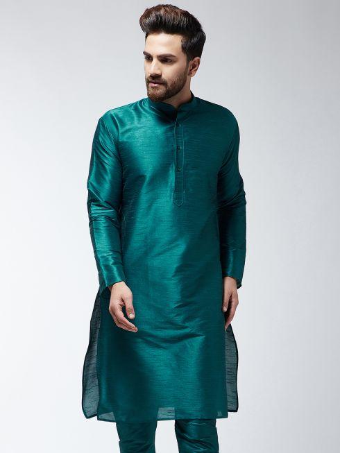 Sojanya (Since 1958), Men's Silk Blend Teal Green ONLY Long Kurta